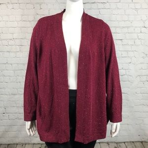 Wine Colored Open Front Cardigan Plus Size 1X